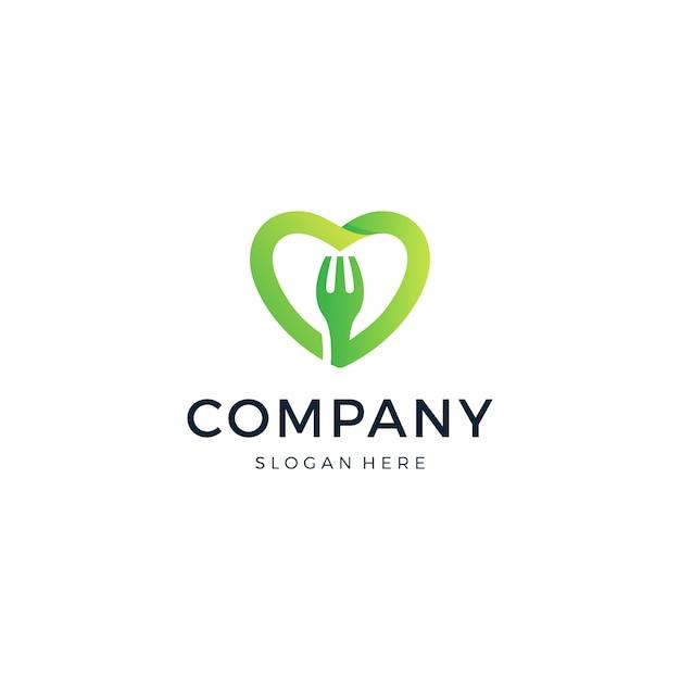 Логотип food love Premium векторы