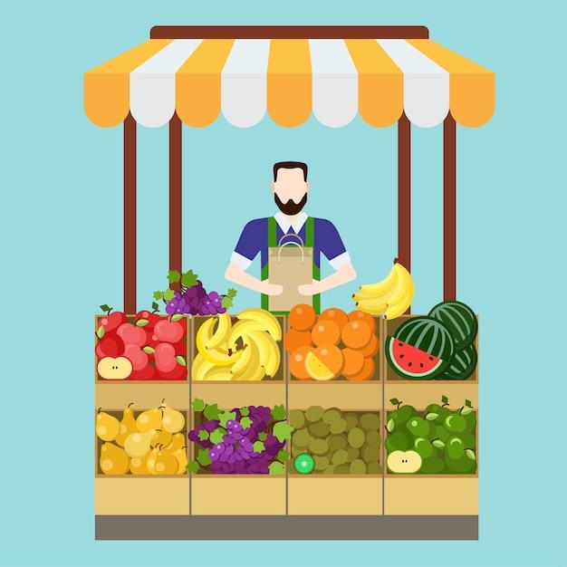 식품 시장 과일 가게 세일즈맨 판매 프로세스. 플랫 스타일의 현대적인 전문 직업 관련 남자 직장 개체. 쇼케이스 박스 가방 사과 바나나 오렌지 키위 포도 배. 사람들이 작업 컬렉션 무료 벡터