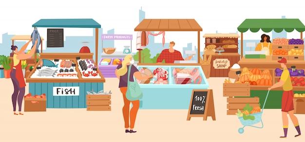 Иллюстрации - киоски с продовольственным рынком, мясник местного фермера, магазин рыбного киоска, хлебобулочные и овощные стенды с фруктами. Premium векторы