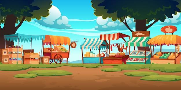 果物、野菜、チーズ、肉、魚がカウンターや木枠に並ぶ食品市場の屋台。 無料ベクター