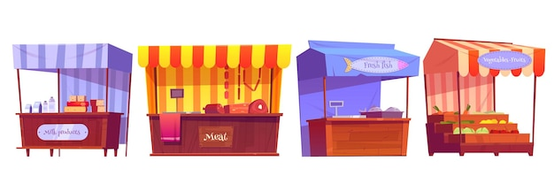Food market stalls with fruits, vegetables, milk, meat and fish on counter and in crates. Free Vector