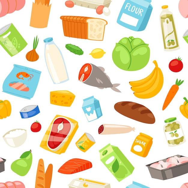 Food  meal assortment vegetables or fruits and fish or sausages from supermarket or grocery illustration set of pastry and milk or seafood products and seamless pattern Premium Vector