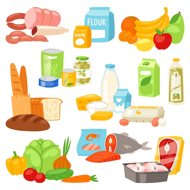 Food  meal assortment vegetables or fruits and fish or sausages from supermarket Premium Vector