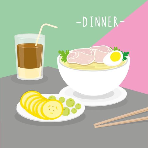 Food meal dinner dairy eat drink menu restaurant vector Premium Vector