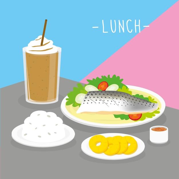 Food meal lunch dairy eat drink menu restaurant vector Premium Vector