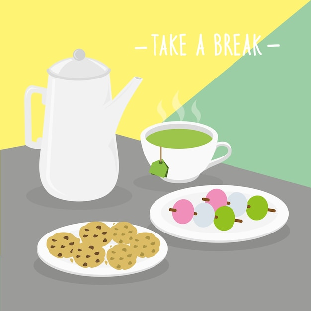 Food meal take a break dairy eat drink menu Premium Vector