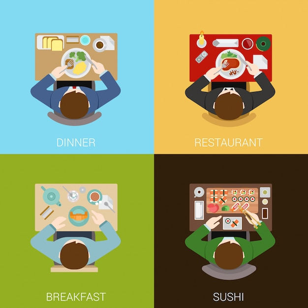 Food meal time top view flat concepts illustrations set. Premium Vector