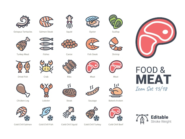 Food & meat vector icon collection Premium Vector
