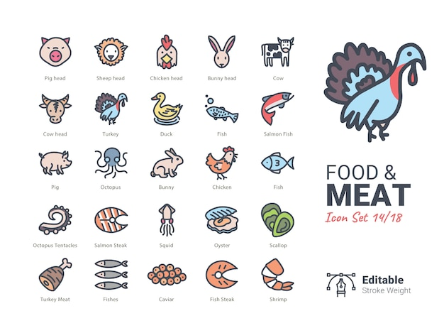 Food & meat vector icons collection Premium Vector