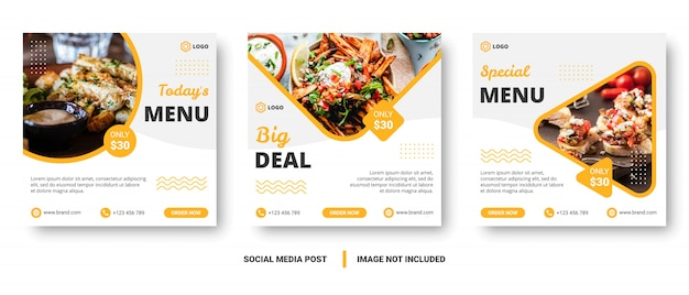 Food menu banner social media post. Premium Vector