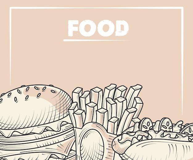 Еда меню бургер картофель фри и хот-дог рисованной иллюстрации плаката Premium векторы