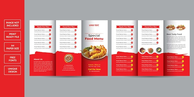 Food menu trifold brochure Premium Vector