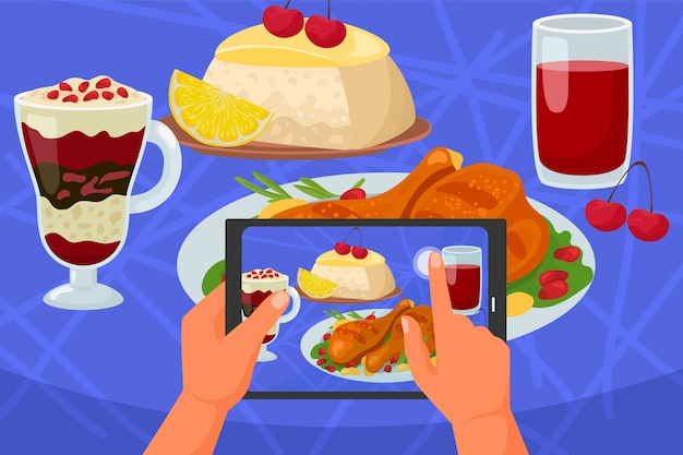 食品モバイル写真、電話イラストを手に。カメラによるスマートフォンの写真、テーブルでのレストランのランチ。画像 Premiumベクター
