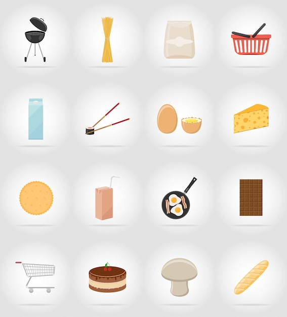 Food and objects flat icons. Premium Vector