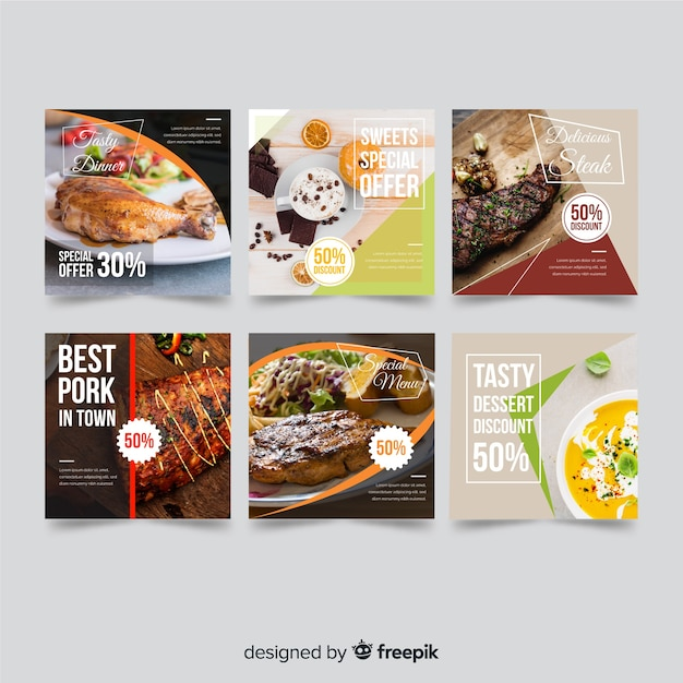 Food offer banner with photo Free Vector