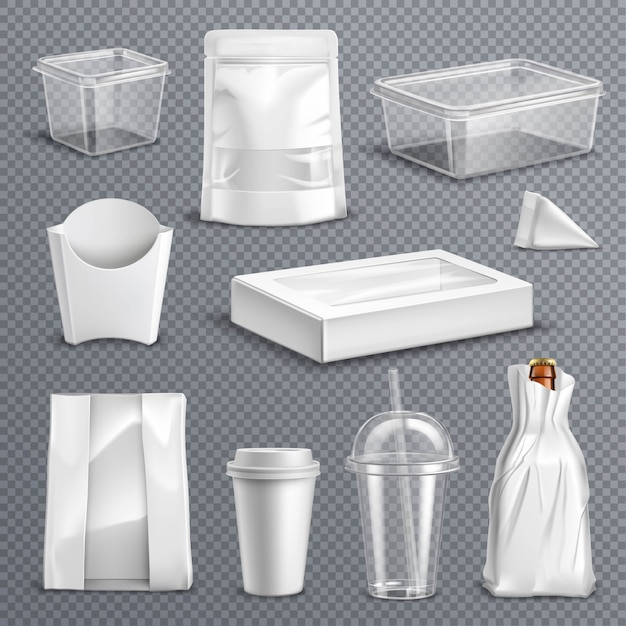 Food packaging realistic transparent set Free Vector