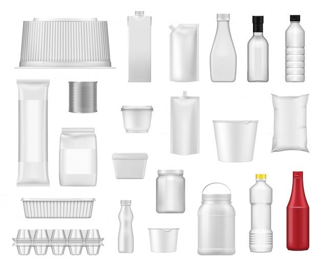 Пищевые пакеты, реалистичные контейнеры для упаковки продуктов Premium векторы