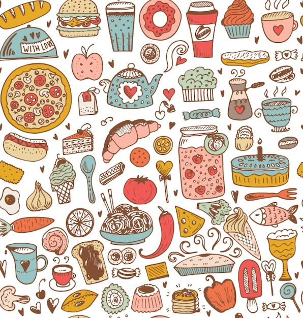 food pattern design vector premium download