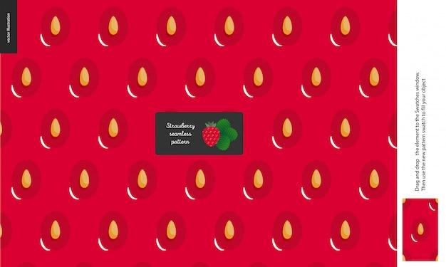 Food pattern, fruit, strawberry Premium Vector