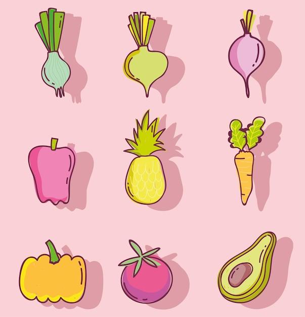 食品パターン、果物と野菜の新鮮な栄養、線と塗りつぶしアイコンセットイラスト Premiumベクター