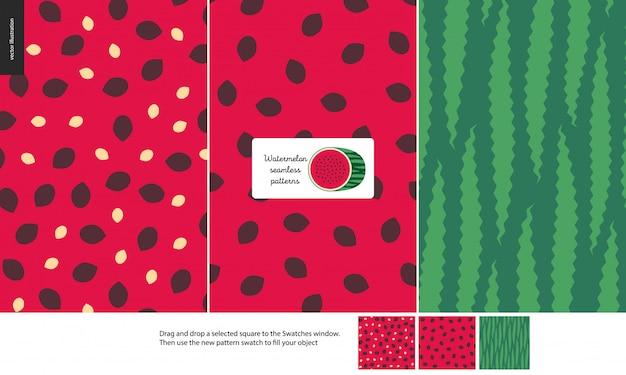 Food patterns, fruit, watermelon Premium Vector
