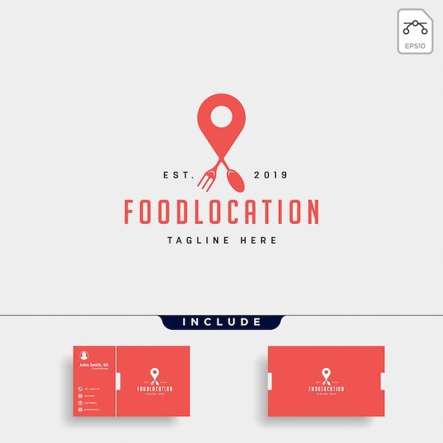 Food pin navigation simple flat luxury logo icon element Premium Vector