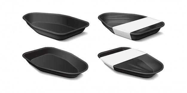 흰색 라벨 식품 플라스틱 검은 트레이. 측면보기. 스티로폼 식품 보관. 검은 거품 식사 용기, 음식을위한 빈 상자 프리미엄 벡터