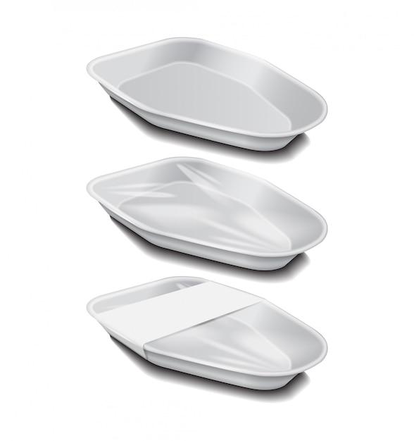 백색 상표를 가진 음식 플라스틱 백색 쟁반. 스티로폼 식품 보관. 거품 식사 용기, 음식 빈 상자. 측면보기 프리미엄 벡터