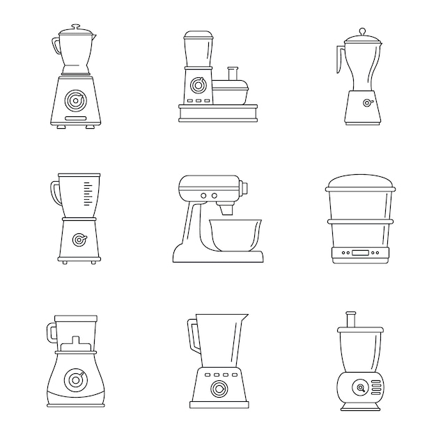 Набор иконок кухонный комбайн Premium векторы