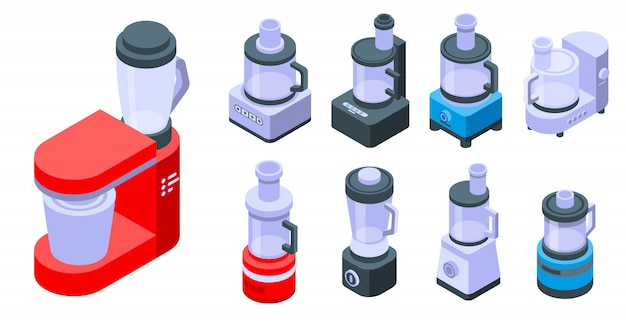 Food processor icons set, isometric style Premium Vector