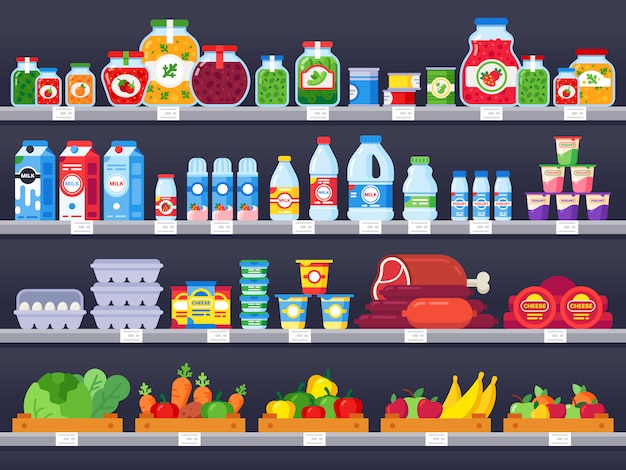 Продовольственные товары на полке магазина. супермаркет, торговые полки, продуктовый магазин витрина и выбор упакованных продуктов питания иллюстрации продажи Premium векторы