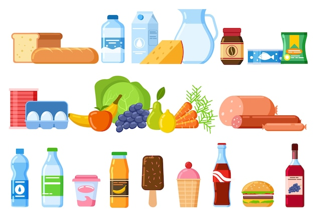 食品セット Premiumベクター