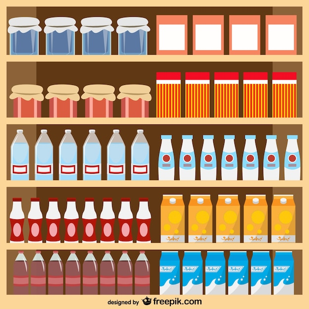 Food products supermarket vector Free Vector