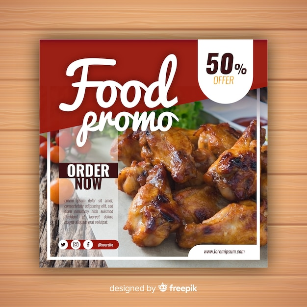 Food promotional banner with photo Free Vector