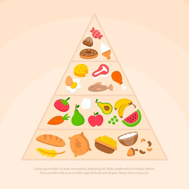 Food pyramid types of healthy nutrition Free Vector