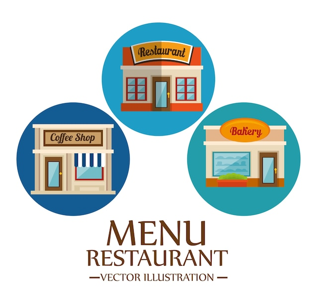 Food-related places icons Premium Vector