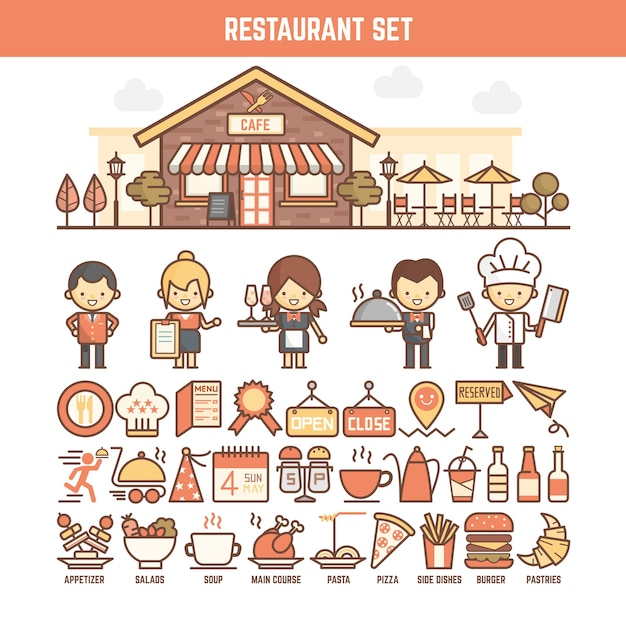 Food and restaurant elements for infographics Premium Vector