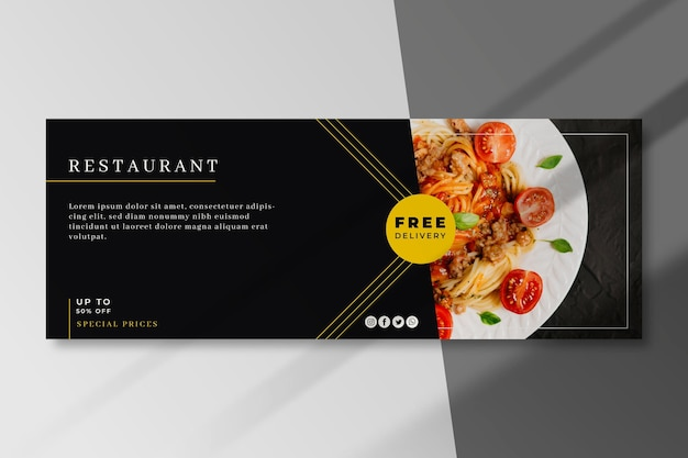 Food restaurant facebook cover template Free Vector