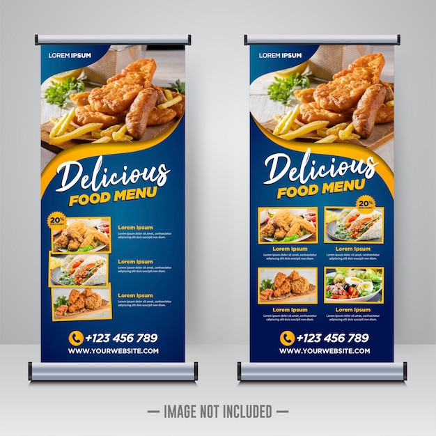 Food and restaurant roll up banner template Premium Vector