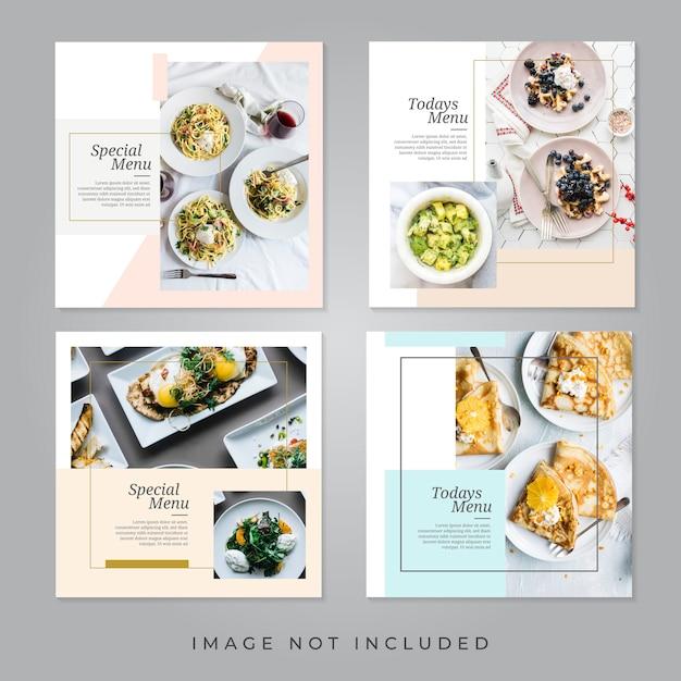 Food restaurant social media banners Premium Vector