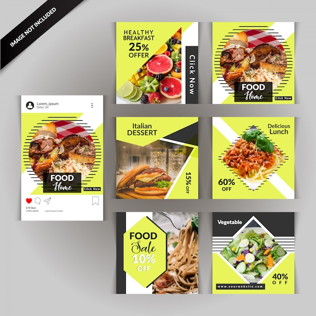 Food Restaurant Social Media Post Premium Vector