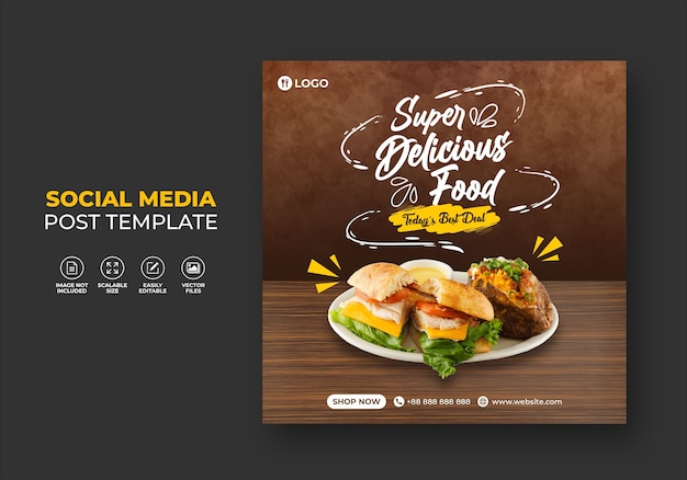 Food restaurant for social media template super delicious burger menu promo Premium Vector