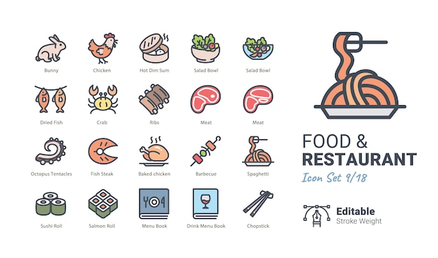 Food & restaurant vector icons collection Premium Vector