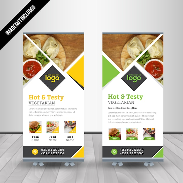 Food roll up banner design for restaurant vector premium