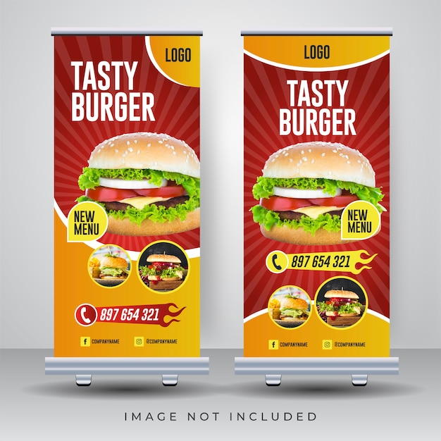 Food roll up banner design template Premium Vector