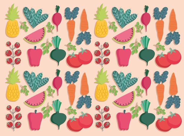食品シームレスパターン新鮮な野菜や果物の栄養イラスト Premiumベクター