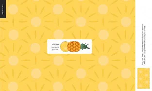 Food seamless pattern, fruit, pineapple Premium Vector