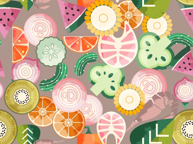 Food seamless pattern Premium Vector