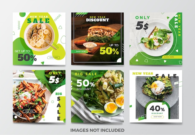 Food social media banner template collection Premium Vector