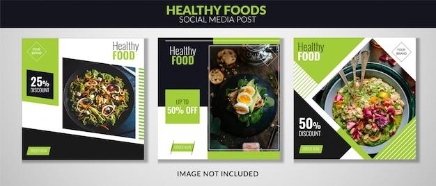 Продовольственный социальный медиа пост баннер Premium векторы